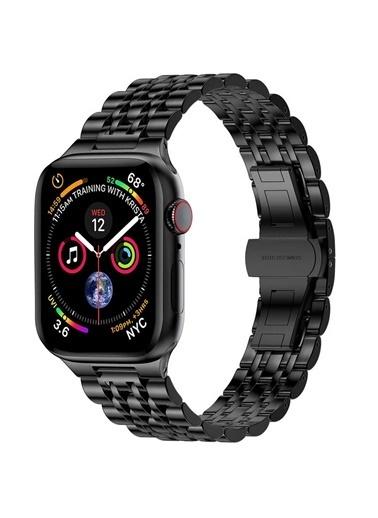 Wiwu Apple Watch 42mm Seven Beads Steel Belt Metal Kordon Siyah